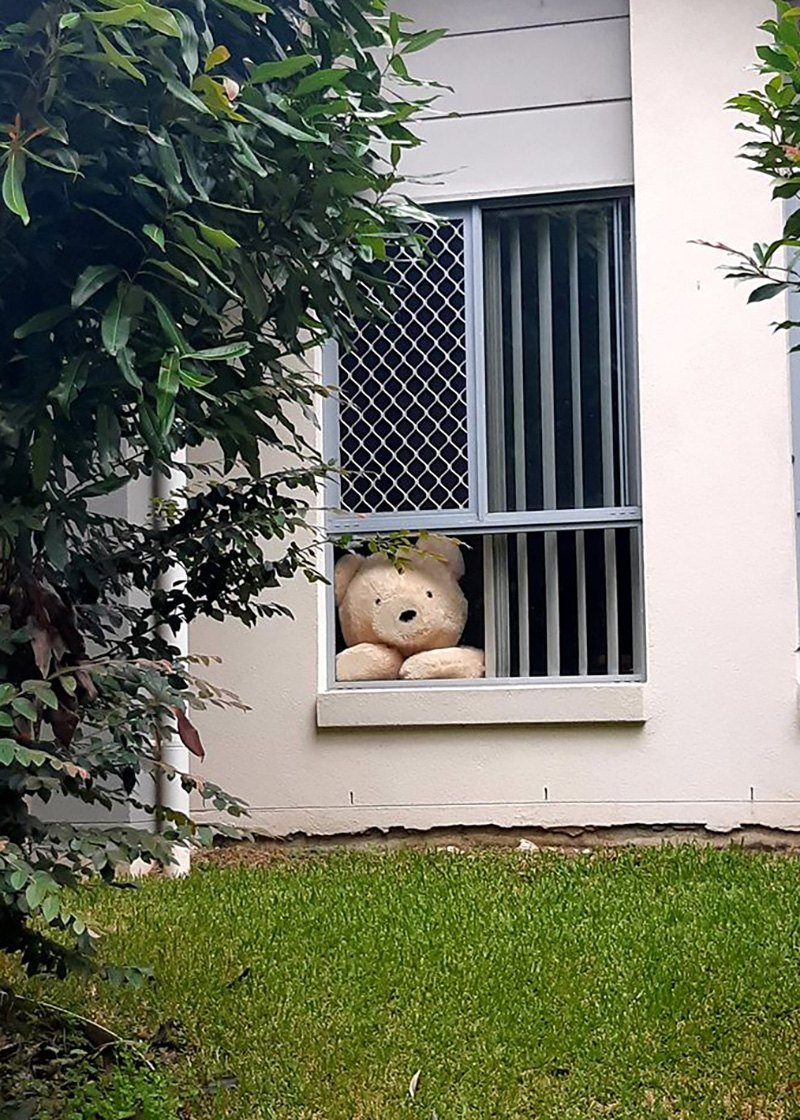 COVID-19 Teddy Bear campaign. The image shows teddy bears in a house window to spread joy.